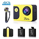 C70 Action Camera 4K WiFi 20MP Waterproof Sports Cam 170 Degree Ultra Wide-Angle Ultra HD Sony Sensor with 2 Rechargable Batteries, Selfie Stick and Full Accessory Kits