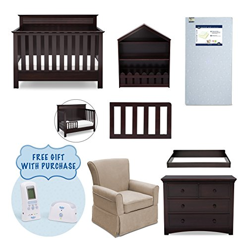 Serta Fall River 7-Piece Nursery Furniture Set w/ FREE Baby Monitor (ships separately) (Convertible Crib, Toddler Rail, 4-Drawer Dresser, Changing Top, Bookcase, Crib Mattress, Glider), Dk. Chocolate by Delta Children
