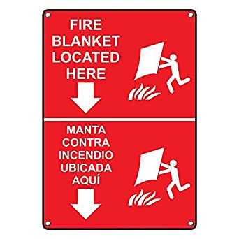 Amazon.com: Weatherproof Plastic Vertical Fire Blanket Located Here Bilingual Sign with English & Spanish Text and Symbol: Industrial & Scientific