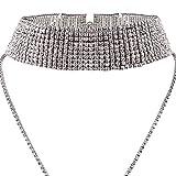 Rhinestones Choker Necklace Double Layer Full