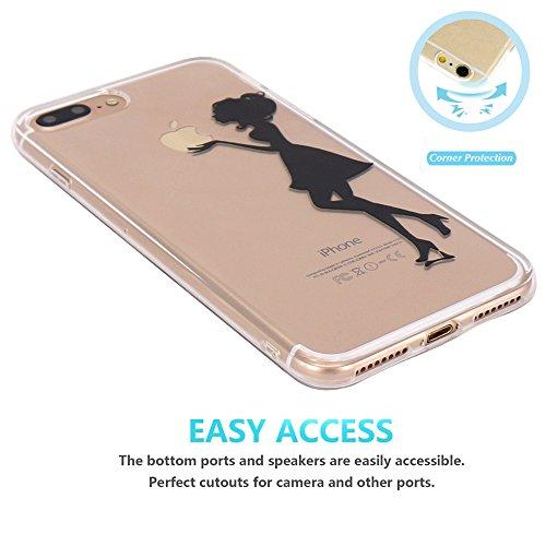 iPhone 7 plus Coque, JIAXIUFEN TPU Coque Silicone Étui Housse Protecteur pour iPhone 7 plus (2016) - Kiss Apple Girl