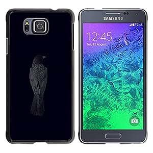 TopCaseStore / la caja del caucho duro de la cubierta de protección de la piel - Raven Black Crow Minimalist Metal Bird - Samsung GALAXY ALPHA G850