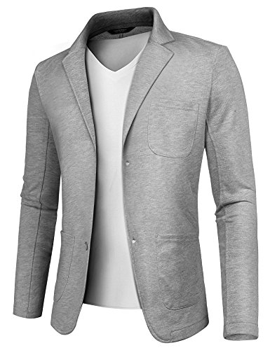 COOFANDY Mens Casual Two Button Suits Lapel Blazer Jacket Lightweight Sport Coat by COOFANDY