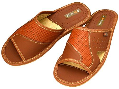 BeComfy - Zapatillas de estar por casa de Piel para hombre marrón
