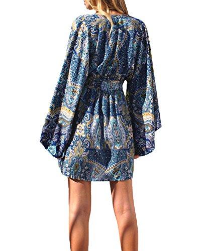 StyleDome Mujer Vestido Mangas Largas Algodón Cuello Pico Estampada Tribal Étnica Playa Elegante Azul