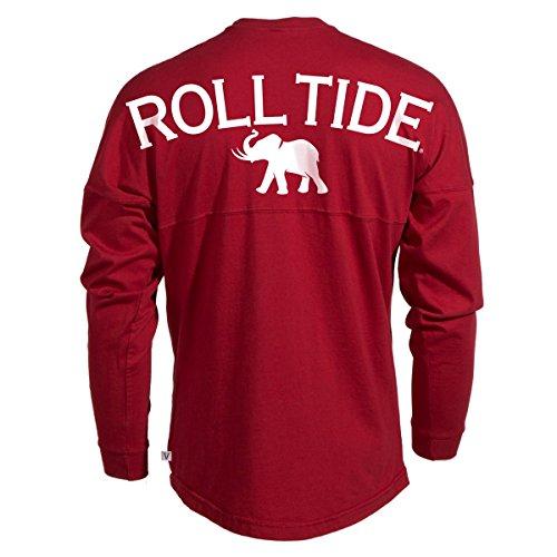 Venley Official NCAA University Of Alabama Crimson Tide UA Roll Tide! Women's Long Sleeve Spirit Wear Jersey T-Shirt,Crimson-35al-18,X-Large
