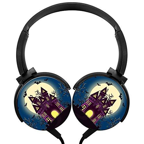 Bats Halloween Castle Headphones 3D Printed Over-Ear Lightweight Headphone for Kids Men Woman -