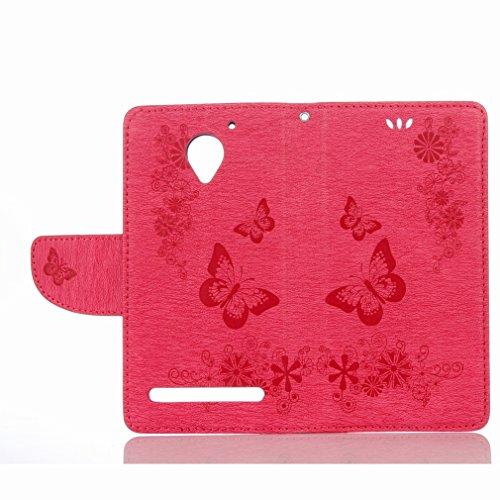 Yiizy Lenovo C2 / K10a40 Custodia Cover, Farfalla Fiore Design Sottile Flip Portafoglio PU Pelle Cuoio Copertura Shell Case Slot Schede Cavalletto Stile Libro Bumper Protettivo Borsa (Colore Rosso Del