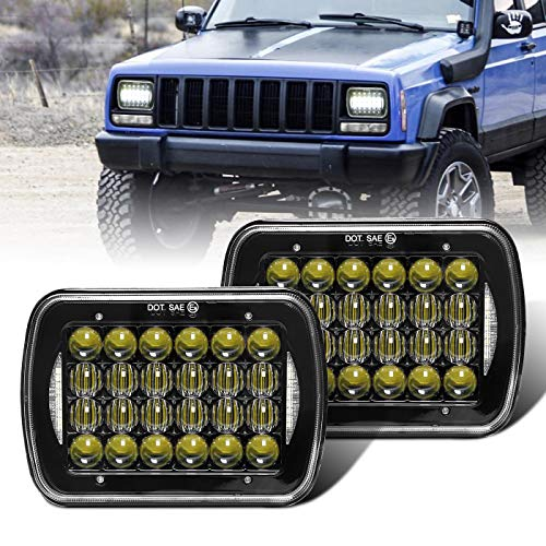 "COWONE Cree 5D Projector H6054 Led Headlight 7""x6"" 5x7 inch LED Headlights Compatible with Jeep Wrangler YJ Cherokee XJ H6054 H5054 H6054LL 69822 6052 6053 2Pcs Black"