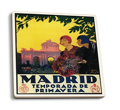 Madrid, Spain - Madrid in Springtime - Vintage Travel Advertisement (Set of 4 Ceramic Coasters - Cork-backed, Absorbent) by Lantern Press