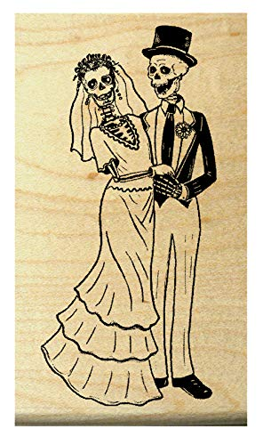 Q16 Skeleton Wedding, Halloween Rubber Stamp