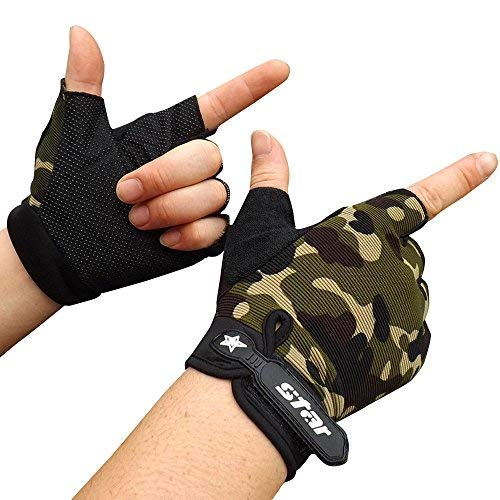 Crytech Workout Glove for Women Men, Breathable Anti-Slip Half Finger Sport Gloves Fingerless Training Gloves with Wrist Support for Fitness Gym Exercise Weight Lifting Cycling (X-Large, Camouflage)