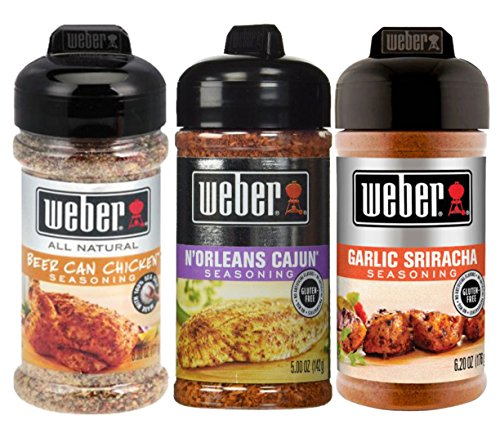 Weber Seasoning Bundle, Beer Can Chicken, N'Orleans Cajun, Garlic Sriracha (Pack of 3) (Garlic Beer)