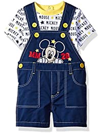 Disney Baby Boys' Mickey Mouse 2-Piece T-Shirt and Shortall Set