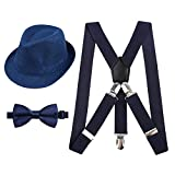 Alizeal 1 inch Suspender and Bow Tie Set with Hat for Kids(Dark Navy)