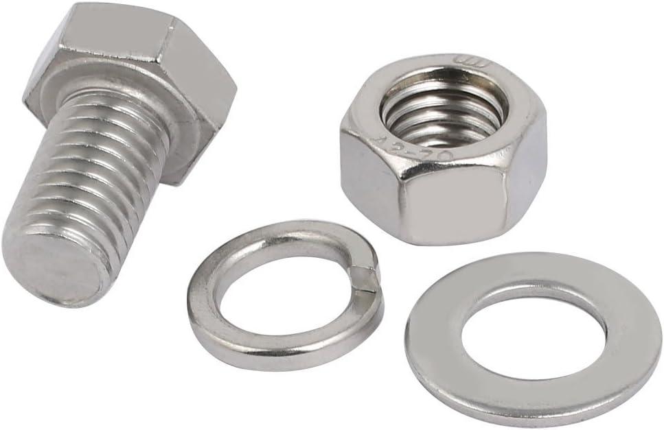 5 Set M12x25mm vis T/ête Hex acier Inox 304 Kit Assortiment /Écrou rondelle