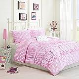 Mizone Lia 4 Piece Comforter Set, Pink, Full/Queen