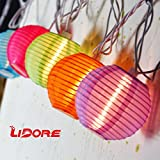 LIDORE Set of 10 New Multi-color Chinese Style Mini Nylon Lantern String Light for Party, Patio, Home, Christmas Decoration