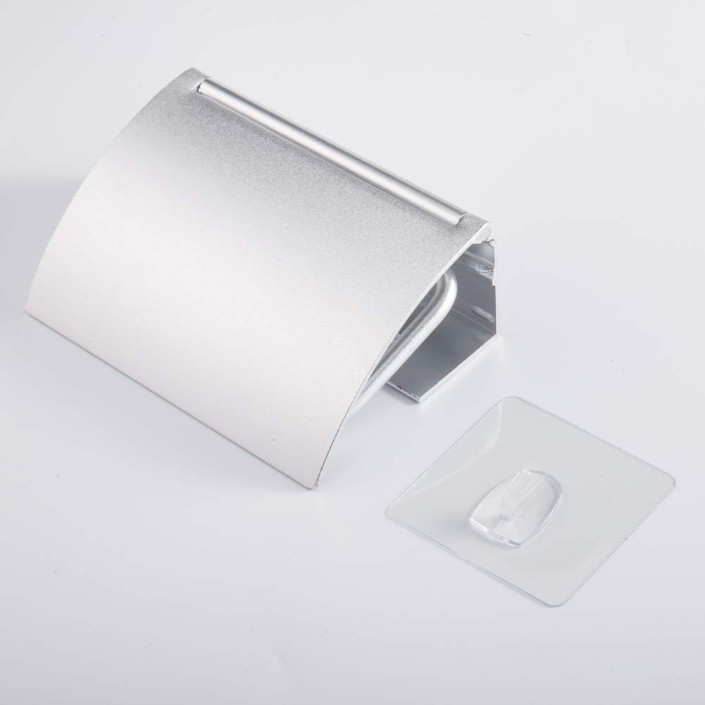 DDhome Self-adhesive Toilet Paper Roll Holder Tissue Roll Hanger Nail and Glue Free Style - Matte Silver/Aluminum Plus Transparent Magic Hook