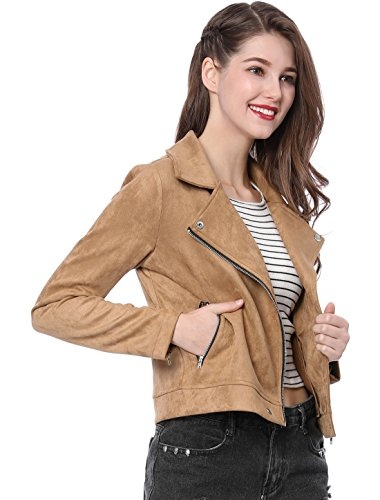 (Allegra K Women's Convertible Collar Zip Up Faux Suede Moto Jacket XS Khaki)