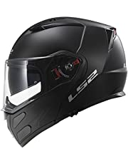 LS2 Helmets Metro Solid Modular Motorcycle Helmet with Sunshield (Matte Black, X-Small)