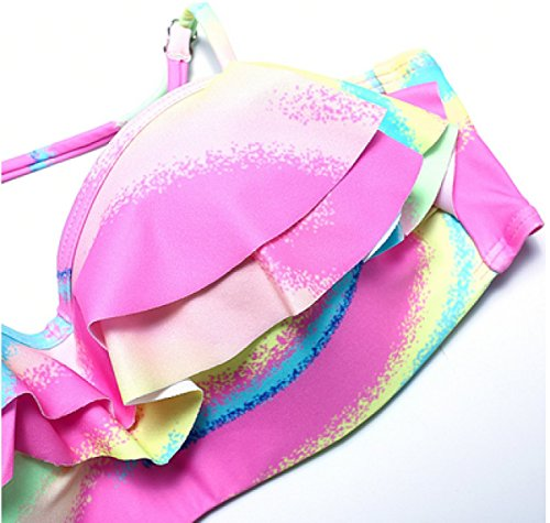 KUWOMINI.Hit De Color Bikini Bikini Señora Cuidado De Acero Traje De Baño De Aguas Termales Pink