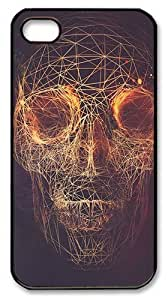 Abstract Skulls Artwork Lines Roses Beautiful Dark Twisted Fantasy PC Case Cover for iPhone 4 and iPhone 4s ¡§C Black