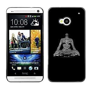 Qstar Arte & diseño plástico duro Fundas Cover Cubre Hard Case Cover para HTC One M7 ( Yoga Pose Woman Body Art Hypnotic Statue)