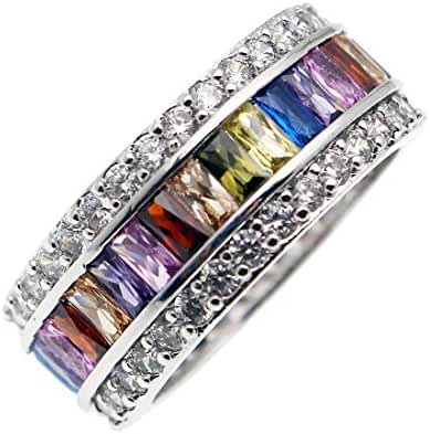 Mother's Day GIFTS Band Ring 925 Sterling Silver Gemstone London Blue Topaz Garnet Morganite