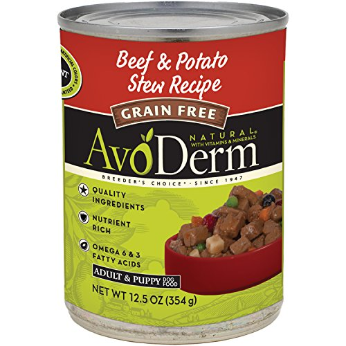 AvoDerm Natural Grain Free Beef & Potato Stew Recipe Canned Wet Dog Food, 12.5-Ounce Cans, Case of 12