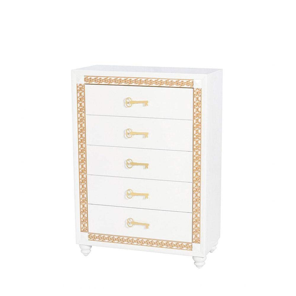 We The Best Home DJ Khaled Young World Chest Children's Bedroom Furniture Set White Gold Trim