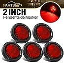 """Partsam 5pcs 2"""" Red Round Sealed Clearance Marker Light 4 LED Mount Grommet/Pigtails"""