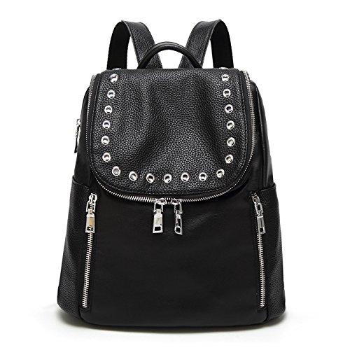DUYANGANG Zaino Semplice Borse Multifunzionale Scuola Fashion College Bag Black