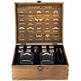 Atterstone Whiskey Box Set with 2 Glasses and Chilling Stones with Matching Mustache Etchings, Comes in Wooden Box with Inner Lid Design, Ideal for Holiday and Wedding Gifts