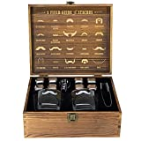 Atterstone Whiskey Glass Box Set Includes 2 Glasses, 8 Chilling Stones, Storage Bag, Silicone-Ended Tongs, and Wood Box with Etched interior, Gift Box Set