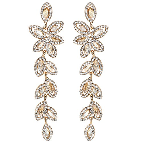 mecresh Champagne Crystal Leaf Wedding Dangle Earrings Jewelry for Women Brides Bridesmaid