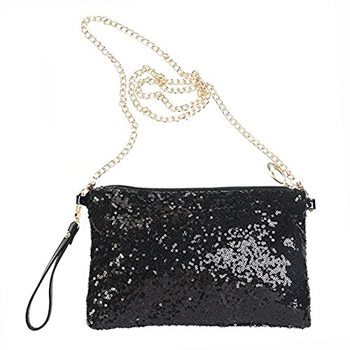 (Lady Glitter Sparkling Bling Sequins Crossbody Wristlet Evening Party Clutch Bag)