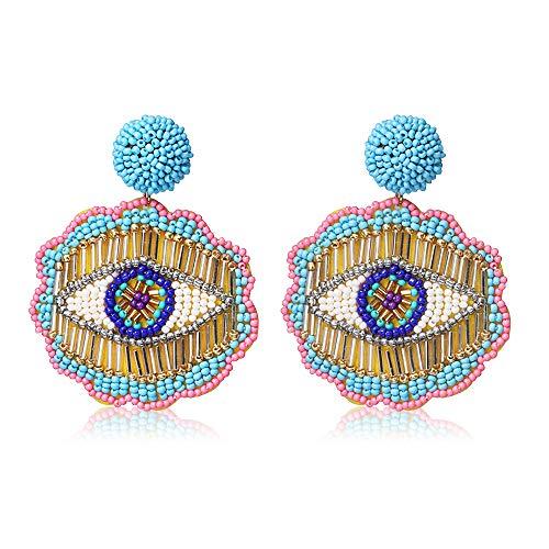 Beaded Earrings for Women Drop Dangle Statement Eye Earrings Cute Flower Bohemian Beaded Jewelry (Beaded earrings Light blue-gold)