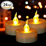 #4: Tea Lights, Flameless LED Tea Lights Candles, Warm Amber, Ideal for Wedding, Party, BBQ, Holidays and Mother's day gift, Pack of 24