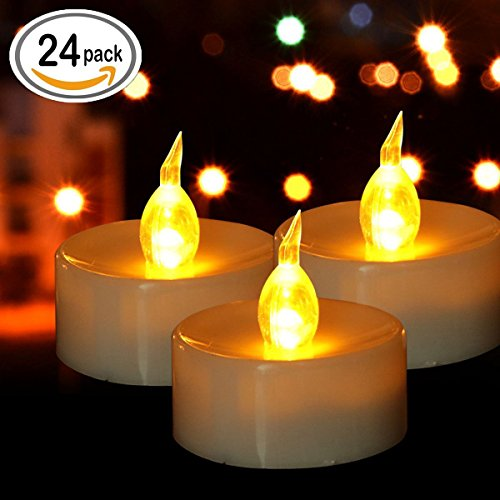 Tea Lights, Flameless LED Tea Lights Candles, Warm Amber, Ideal for Wedding, Party, BBQ, Holidays and Mother's day gift, Pack of 24