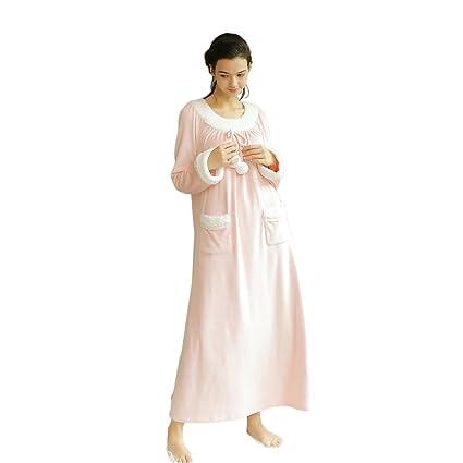 4f4fd3472d Amazon.com  Pink Winter Sweet Cute Long Sleeves Sleep Dress Female ...