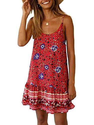 (Women's Summer Sexy Floral Printed Dress Adjustable Spaghetti Strap Mini Beach Casual Ruffle Swing Boho Sundress Red XL)