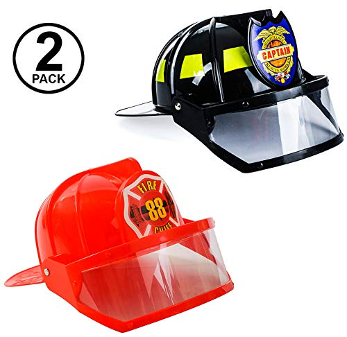Child Helmet Firefighter Black - Tigerdoe Fireman Hat - Firefighter Hat & Fire Chief Hat - Fireman Costume Accessories - 2 Pack Fireman Helmet (Black and Red)
