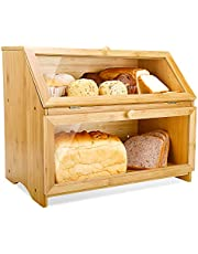 Double Layer Large Bread Box for Kitchen Counter Wooden Large Capacity Bread Storage Bin