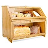 Double Layer Bread Box for Kitchen...