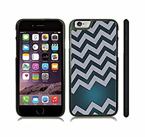 iStar Cases? iPhone 6 Case with Chevron Pattern Aquamarine Gradient / Grey Stripe , Snap-on Cover, Hard Carrying Case (Black)
