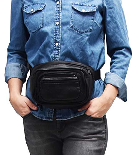 Garrison Grip Concealed Carry Four Zipper Compartments Durable Black Leather Waist Fanny Pack with Locking Gun Compartment for Medium to Small Guns. One Lock Included.