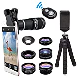 Rziioo Phone Camera Lens with 18x Telephoto Lens+Fisheye,Tripod and Shutter 8 in 1 Cell Phone Lens Kit