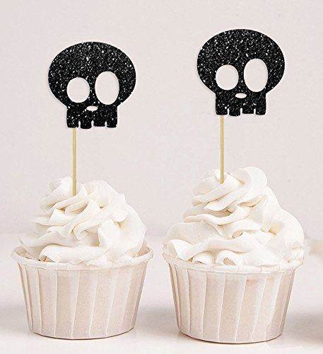 12 x Halloween Black /& White Skull Crossbone Cupcake Cake Ring Topper Decoration