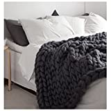 Knit Blanket Throw Soft Rug Sofa Bed Lounge Decorator Knitted Small Size Pet Bed Mat Rug (47.2x59inches-120x150cm, Black)